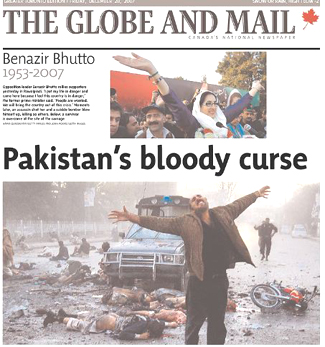bhutto pakistan blast front page
