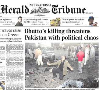 bhutto pakistan blast front page 2