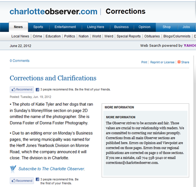 McClatchy Charolette observer corrections