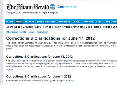 McClatchy miami herald online correction