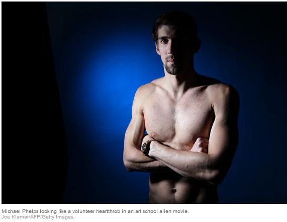 See above one of Joe Klamar's Olympic portraits of Michael Phelps. (Credit: Slate/Joe Klamar/AP/GettyImages)