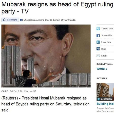 reuters mubarak