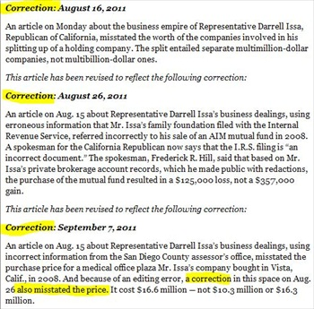 NYT Adds 3 Corrections to Darrell Issa Story, Issa still calling for Retraction