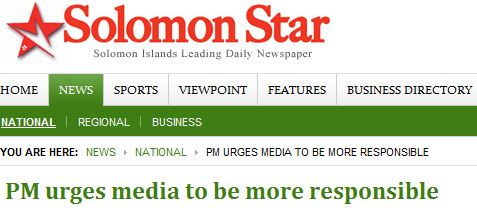 Solomon Islands Prime Minister Calls for Journalists to Follow Ethics Code