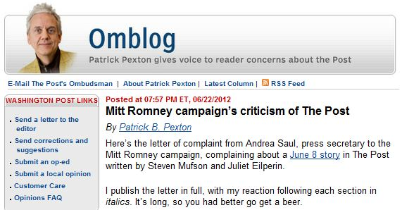 WaPo Ombuds Dismisses Complaints by Mitt Romney Campaign