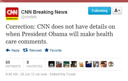 CNN Corrects Health Care Ruling Errors with Tweets, E-mails, and on Website