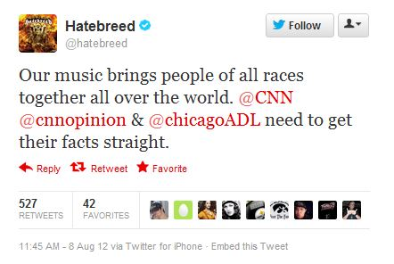 CNN Corrects after Labeling Metal Band Hatebreed as White Power