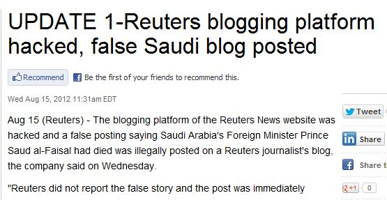 Reuters Hacked Again, Unpublishes Fake Story Claiming Saudi Arabian Politician Died