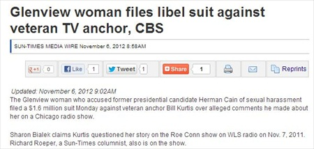 Herman Cain Accuser Sues CBS Chicago Anchor, CBS for 2011 Radio Comments