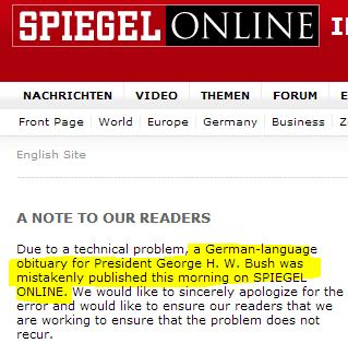 Fmr. Pres. George H.W. Bush Alive, But Der Spiegel Published Obit