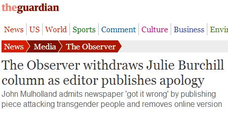 800 Complaints to the PCC, the Observer's Transgender Column 'Should Not Have Been Published'