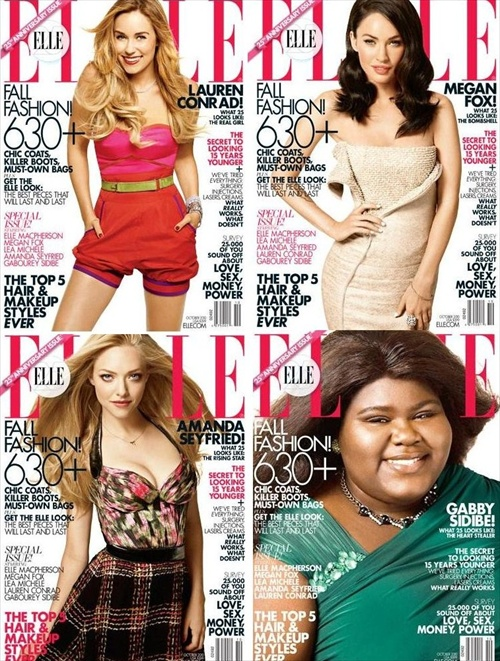 The ELLE October issue is available in four different versions, depicting three different actresses and one TV reality show star (Credit: ELLE)