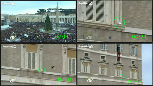 Four video stills that show just how far away the birds were from the crowds and how difficult it would be to see them. If the crowd couldn't see the birds how could they be gasping?