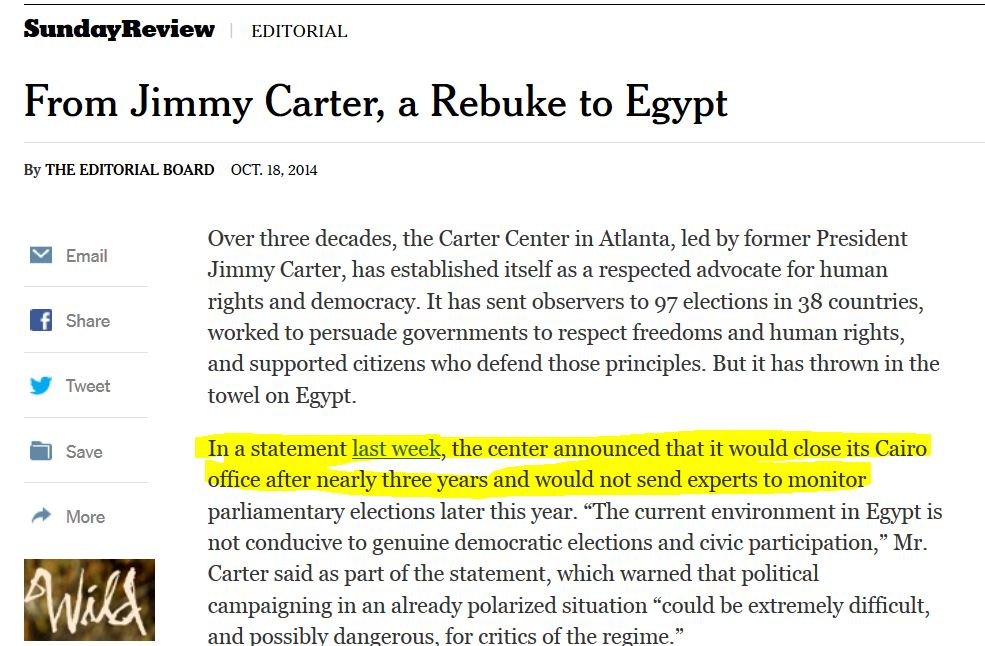 Was NY Times duped by Carter Center Press release on why its ...