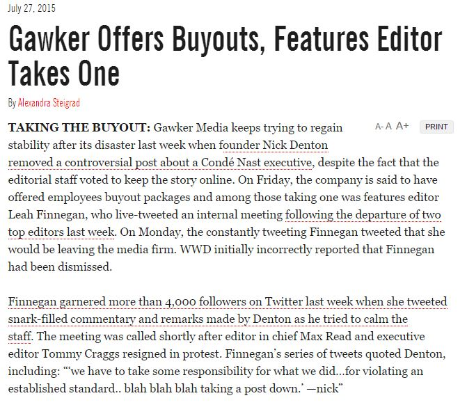 The third version of the WWD story admits WWD wrongly said Finnegan was fired.