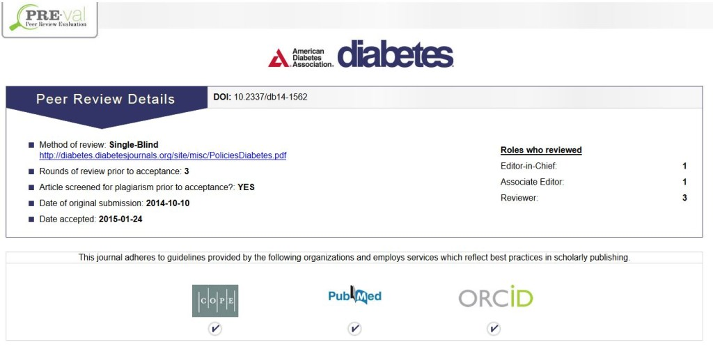 An ADA article that already features PRE. When clicking on the PRE badge, readers go to this page. (Credit: DiabetesJournals.org)