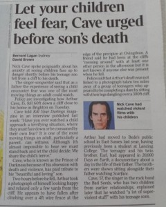 Nick Cave, nick cave son death, cliff death