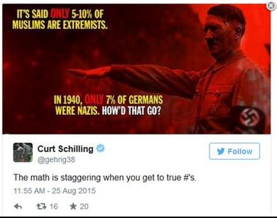 Curt Schilling's now-deleted tweet. (Via Boston.com)