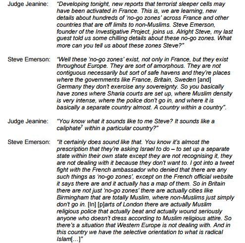 Transcript screenshot (Via OfCom)