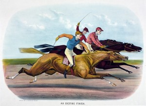 Who is going to win the presidential horse race? (Credit: J. Cameron, 1884 Currier & Ives print)