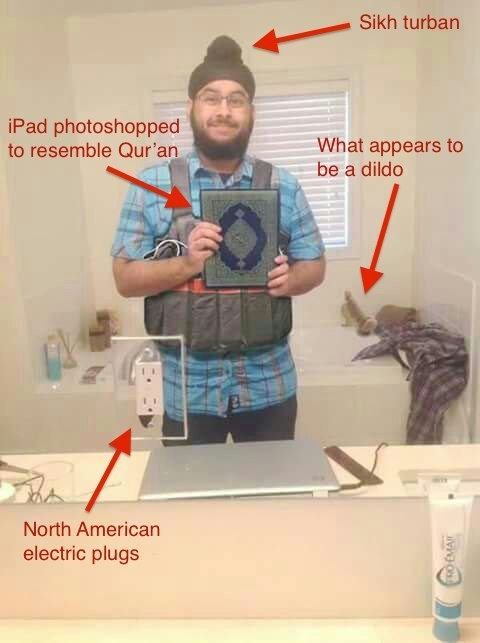 BuzzFeed pointed out several areas of the photo that should have raised red flags.