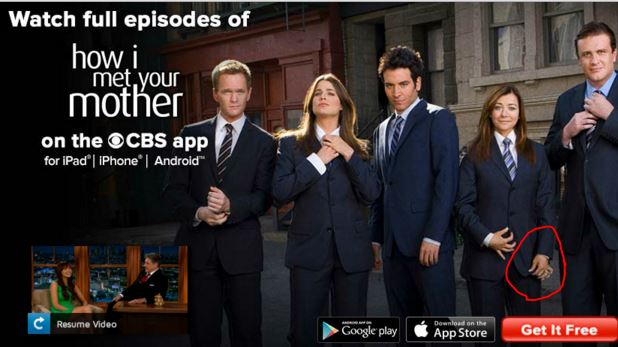 iMediaEthics circled the extra fingers on the How I Met Your Mother star's hand. (Credit: Photoshop Disasters)