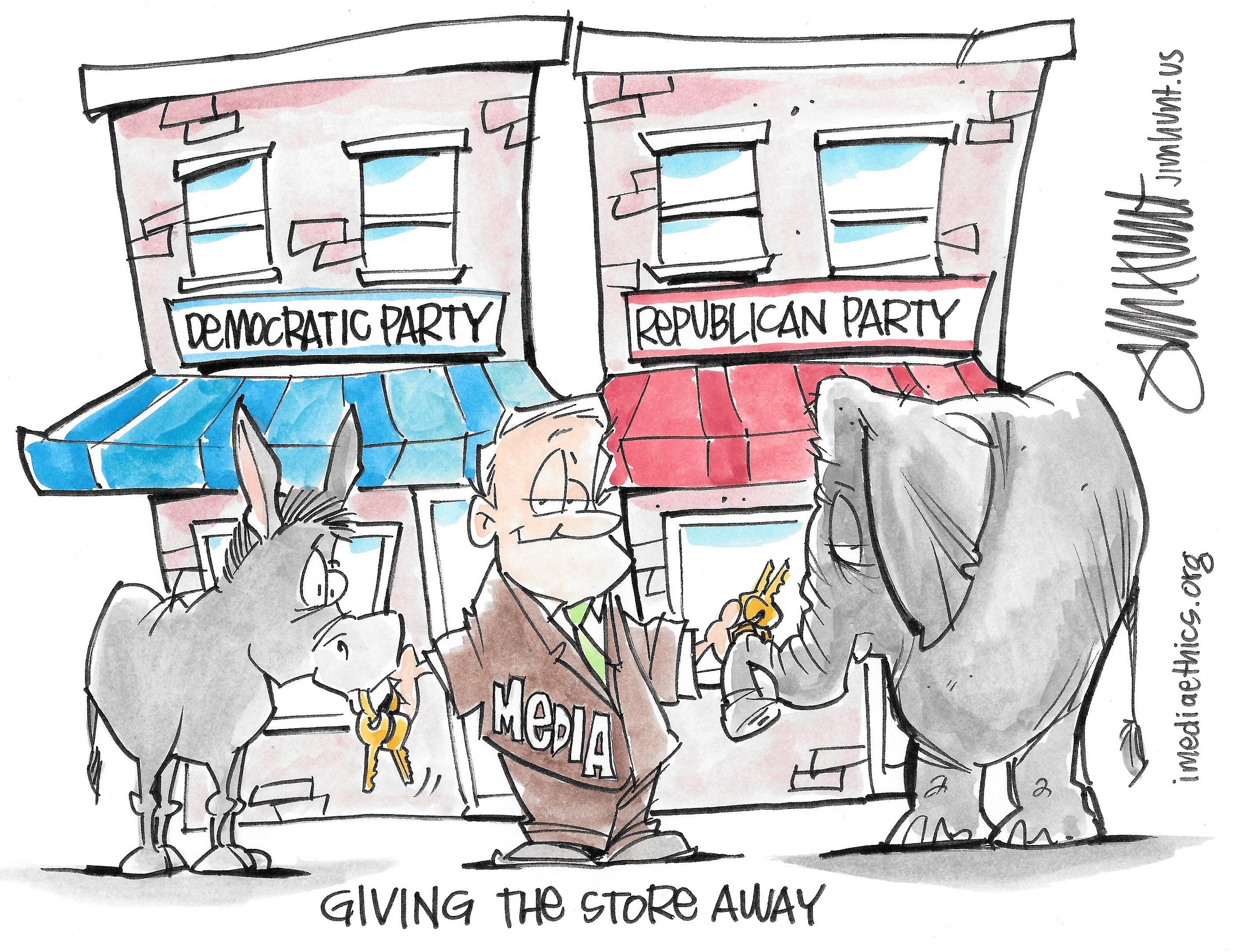 (Cartoon Credit: Jim Hunt for iMediaEthics)