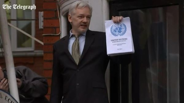 Julian Assange Feb. 5 responding to the UN report (Credit: Telegraph, screenshot)