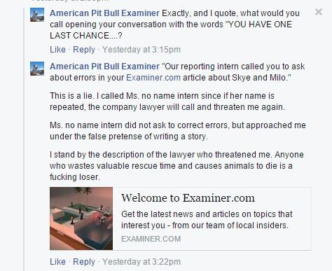 "Doubling down after cursing at iMediaEthics' attorney over the phone, Marabito boldly posted an admission on her American Pit Bull Examiner Facebook page that she did, in fact, call the attorney a ""fucking loser."""