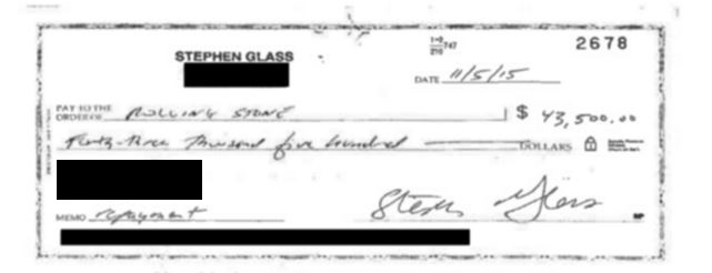 Glass sent iMediaEthics one of the canceled checks he sent to a news outlet.