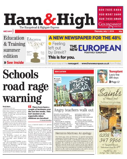 The Ham & High's front page apology is on the bottom of the newspaper.