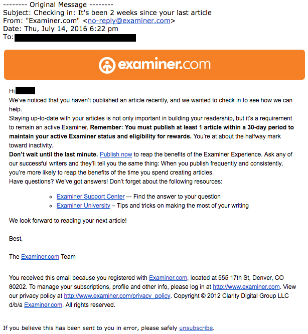 An email the supposedly-defunct Examiner.com sent to contributors, reminding them to publish articles. The email is dated four days after Examiner.com told writers it would be going dark. (Credit: an Examiner.com contributor, screenshot detail)