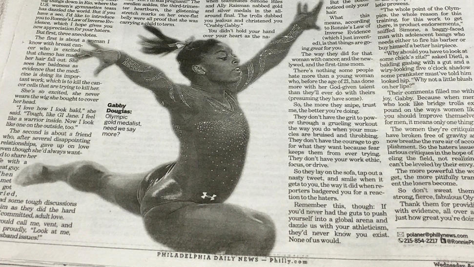 The Daily News in Philadelphia mixed up Gabby Douglas and Simone Biles. (Via NBC News)