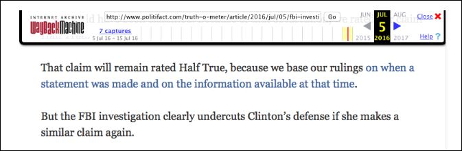 A July 5th update to a PolitiFact article, reaffirming a half true rating for Clinton's claim. (Screenshot detail: WayBack Machine)