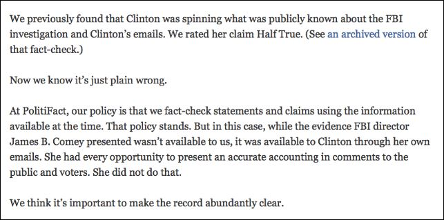 PolitiFact's reasoning to change a Half-True rating to False, based on information Clinton would have had. (Credit: Screenshot detail, PolitiFact)