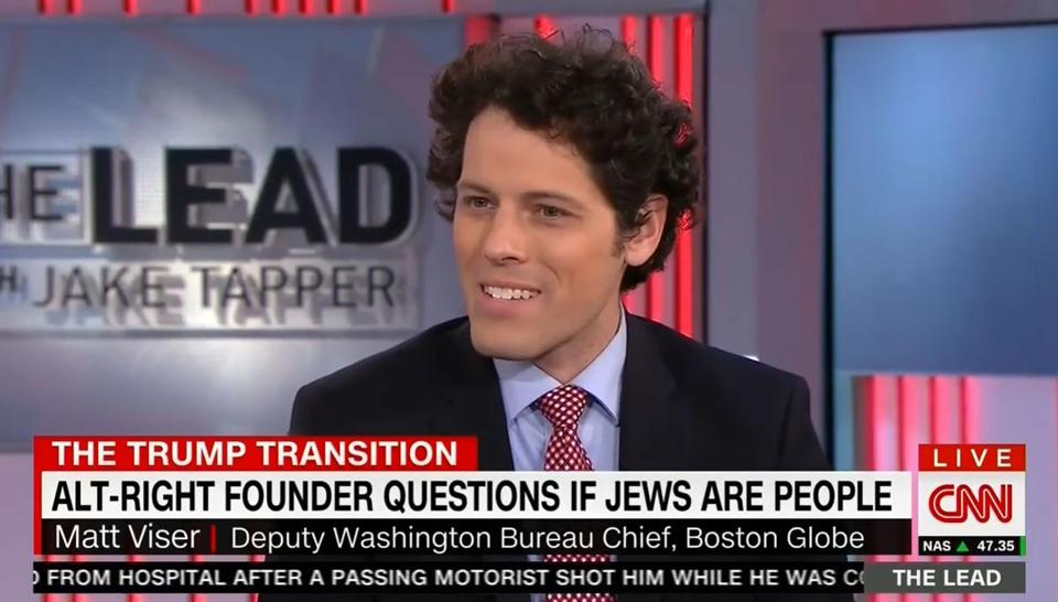 "A screenshot of the CNN segment. Matt Viser from the Globe is pictured but not the person who asked ""if Jews are people."""