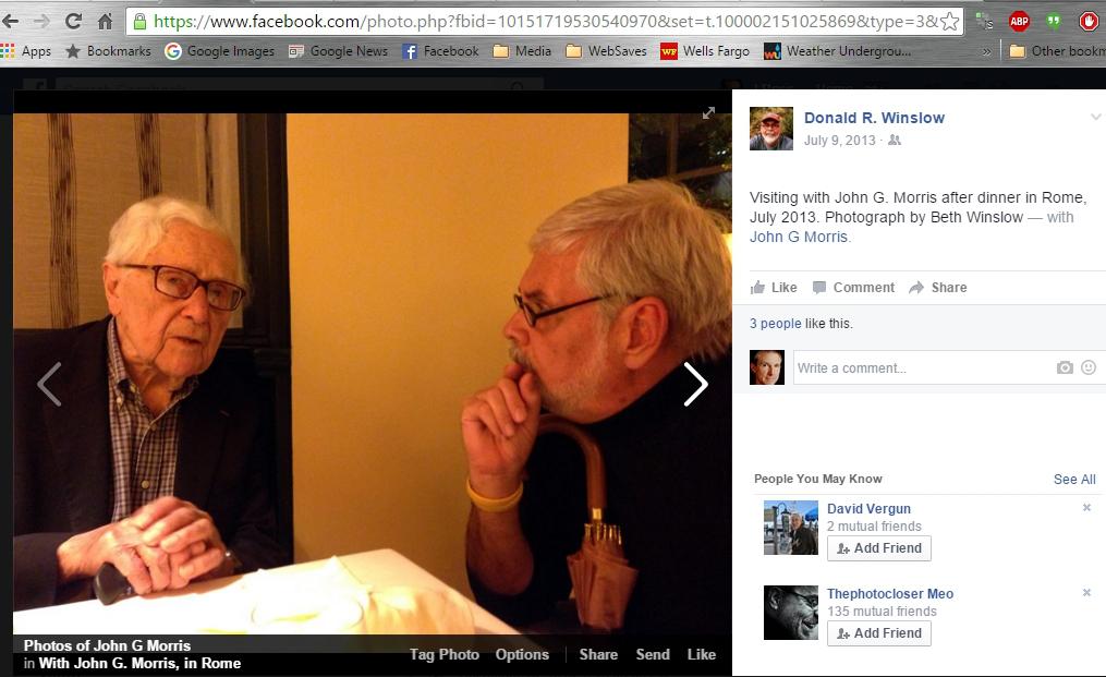 John G. Morris and Donald R. Winslow in Rome (Facebook screenshot)