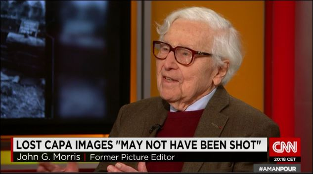 In an interview with Christiane Amanpour in November 2014, John G. Morris discussed the famed Capa images and legend. (Credit: CNN)