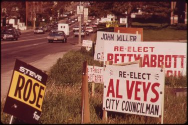 Old political signs (Credit: Wikipedia/Environmental Protection Agency)