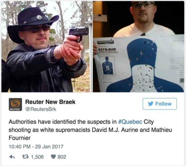The fake Reuters tweet. (Credit: Mediaite/screenshot)