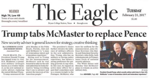 The Eagle's front-page error. (Credit: The Eagle/Newseum)