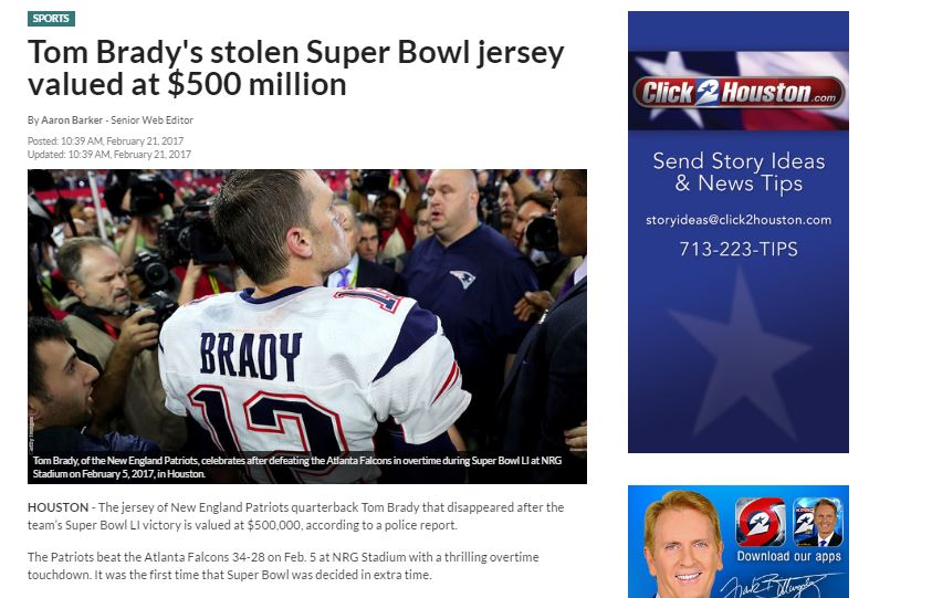 A screenshot of the original KPRC article shows the headline originally said the jersey was worth $500 million.