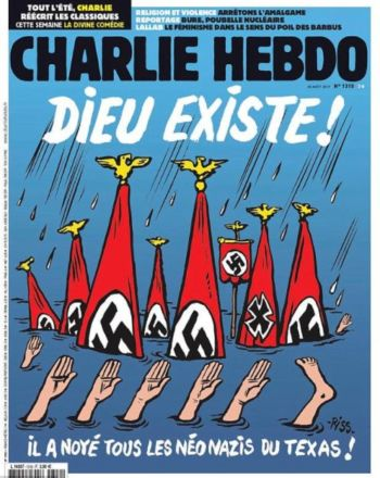Charlie Hebdo Cartoon God Drowned All The Neo Nazis Of Texas Imediaethics