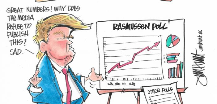 dubious polling, rasmussen, donald trump, polling