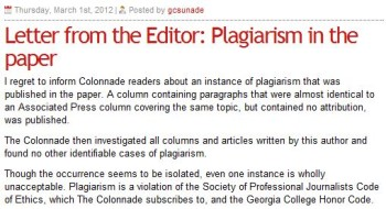 Georgia College Student Newspaper Apologizes for Plagiarism
