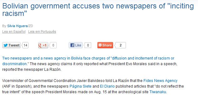 Bolivian News Agency Newspapers Accused Of Inciting Racism