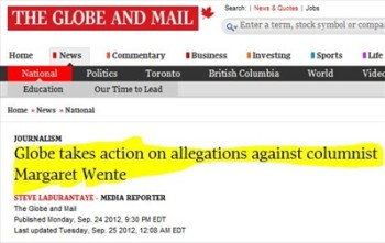 68bf7042e717  Disciplinary Action  for Globe   Mail s Margaret Wente after Attribution