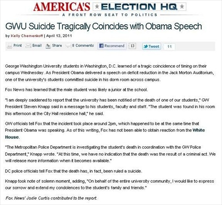 Fox News Retracts Story that linked Student's Death with Obama